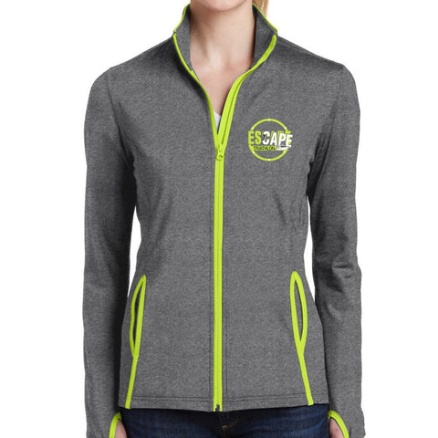 DelMoSports Escape the Cape Tri: 'ETC-EMB' Women's Soft-brushed Full Zip Stretch Jacket - Charcoal Grey / Charge Green - by Sport-Tek