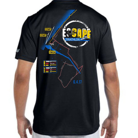 DelMoSports Escape the Cape Tri: '2017 Map' Men's SS Tech Tee - Black - by New Balance