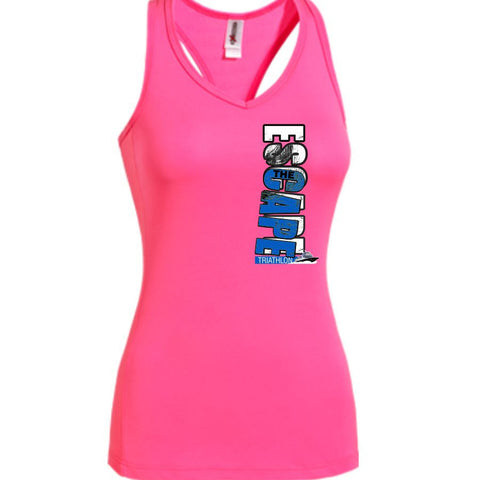 DelMoSports Escape the Cape Tri: 'Left Chest Print' Women's Racerback Tech Singlet - Hot Pink
