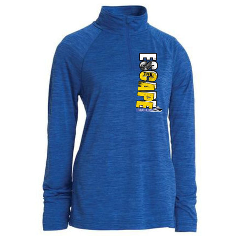DelMoSports Escape the Cape Tri: 'Left Chest Print' Women's Space Dye Pullover Tech 1/4 Zip - Space Dye Royal - by Charles River