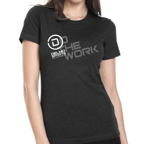 DelMoSports Escape the Cape Tri: 'Do the Work' Women's SS Fashion Tee - Black - by Next Level