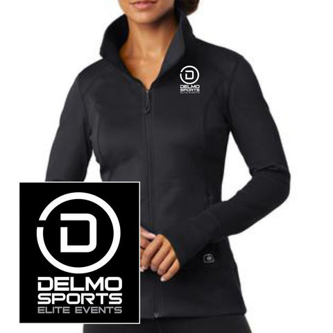 DelMoSports: 'Delmo-EMB' Women's Full Zip Tech Jacket - Blacktop - by OGIO