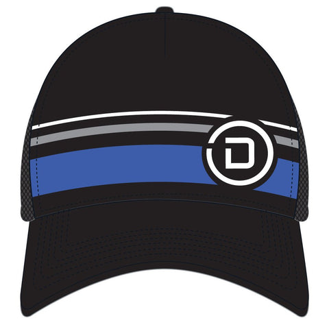 DelMoSports: 'Circle D' Tech Trucker - Black / Stripes - by Headsweats