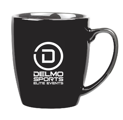 DelMoSports: 'Delmo Logo' 18 oz. Ceramic Mug - Black - by Gordon Sinclair
