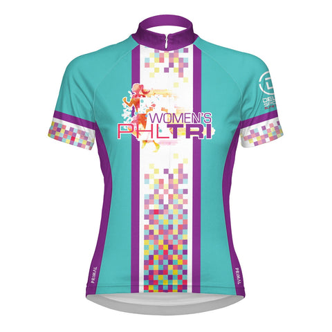 'Primal' Women's Inaugural Event Performance Full Zip Jersey - Teal / Purple