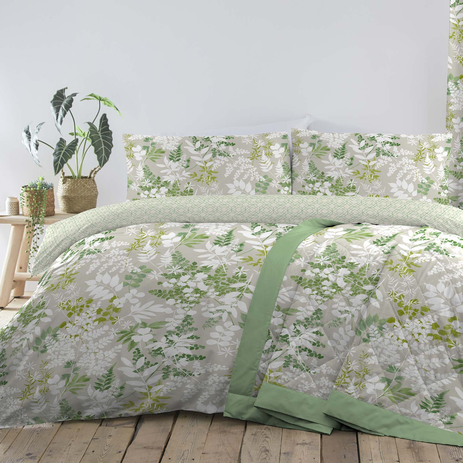 Delamere Botanical Leaf Reversible Green Duvet Cover Set - Single - Ideal Textiles