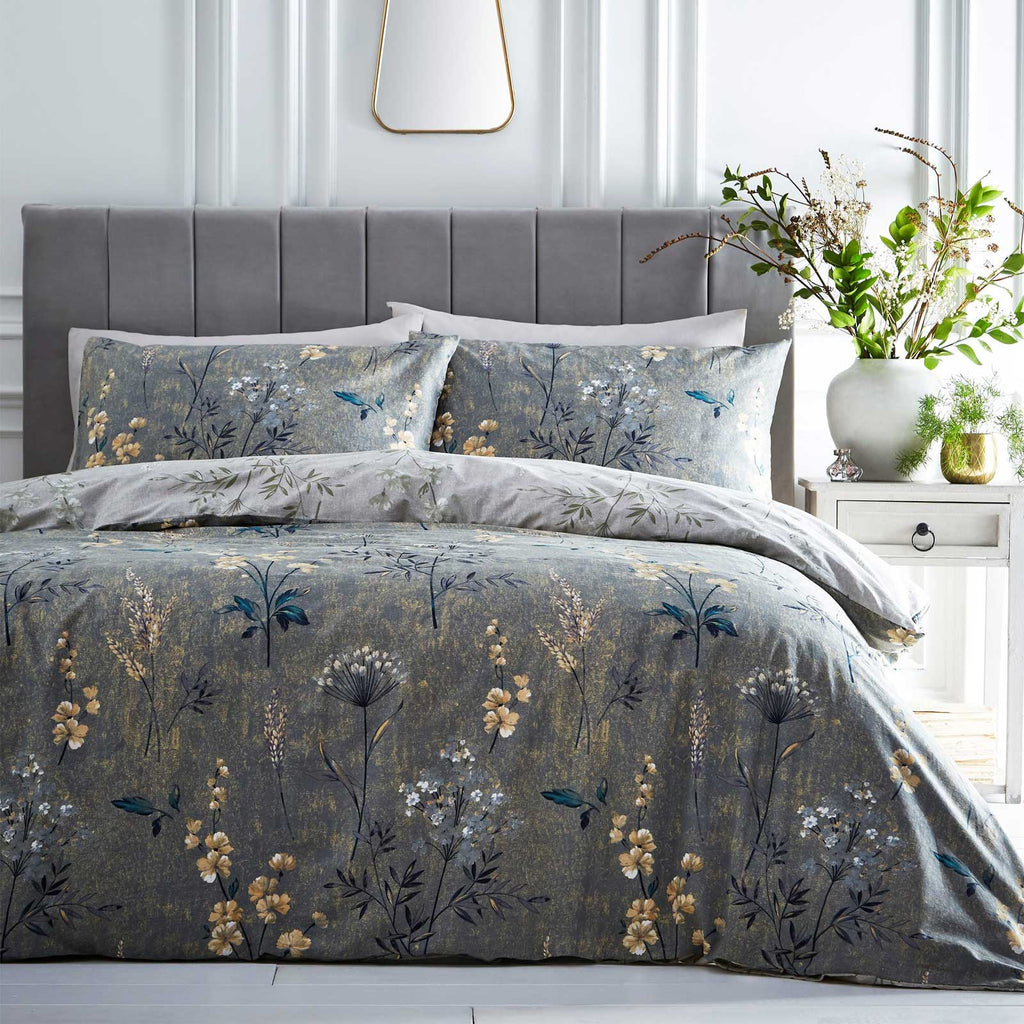 Florette Painted Floral Reversible Moss Green Duvet Cover Set - Ideal Textiles