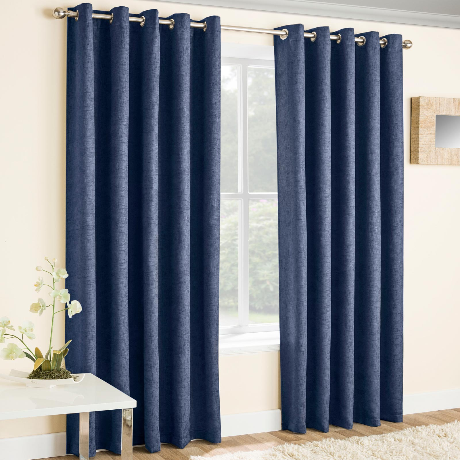 Vogue Textured Block-Out Thermal Eyelet Curtains Navy - 46'' x 54'' - Ideal Textiles