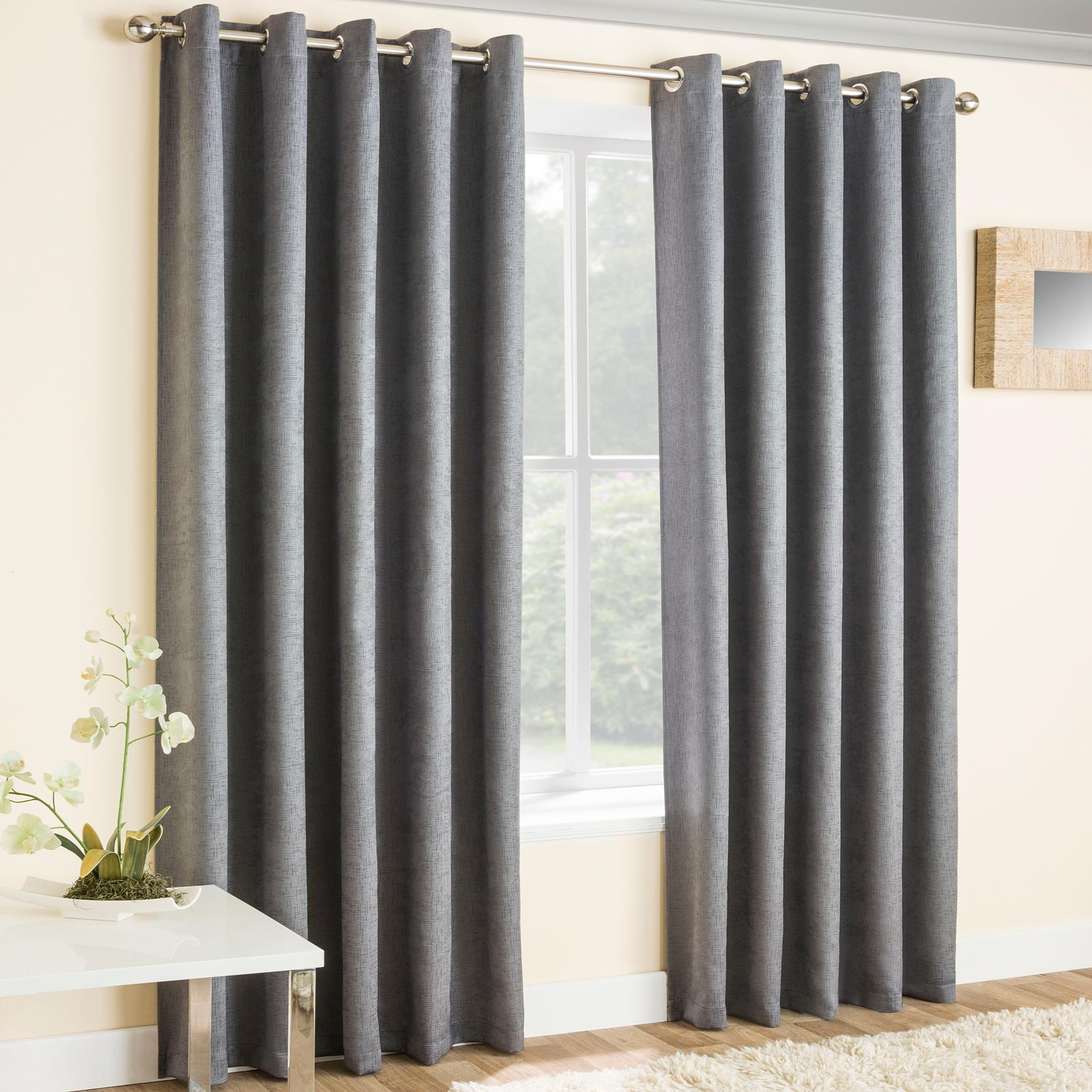 Vogue Textured Block-Out Thermal Eyelet Curtains Grey - 46'' x 54'' - Ideal Textiles