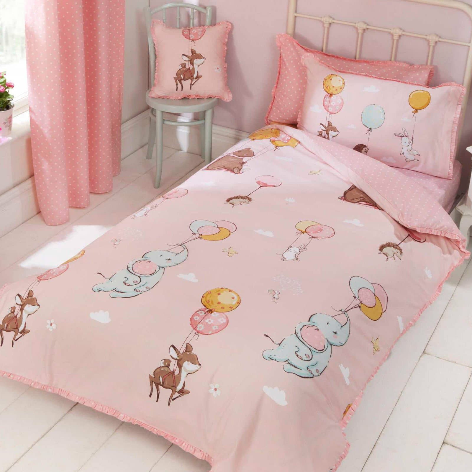 Float Away Frilly Pink Kids Duvet Cover Set - Single - Ideal Textiles