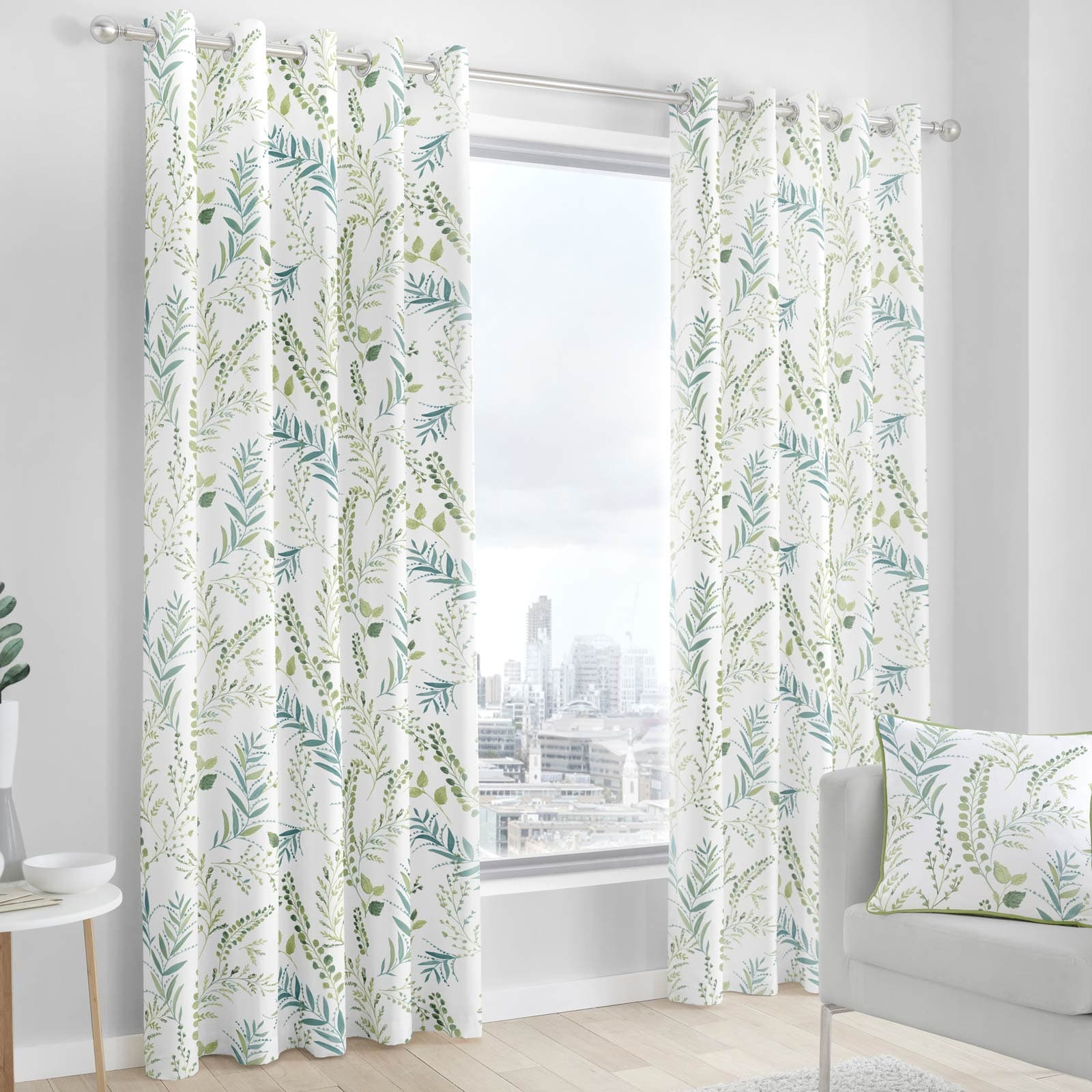 Fernworthy Leaf Print Lined Eyelet Curtains Green - 46'' x 54'' - Ideal Textiles