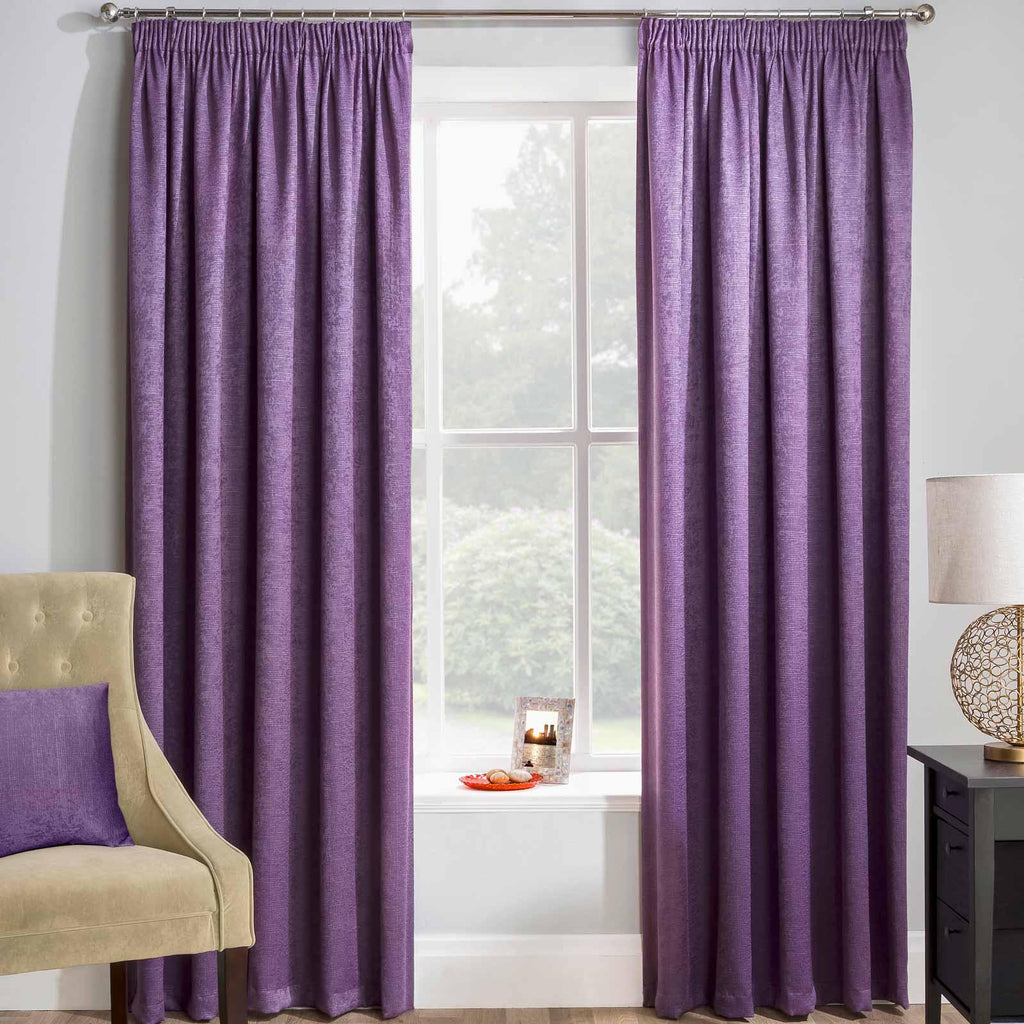 Matrix Block Out Thermal Tape Top Curtains Grape - Ideal Textiles