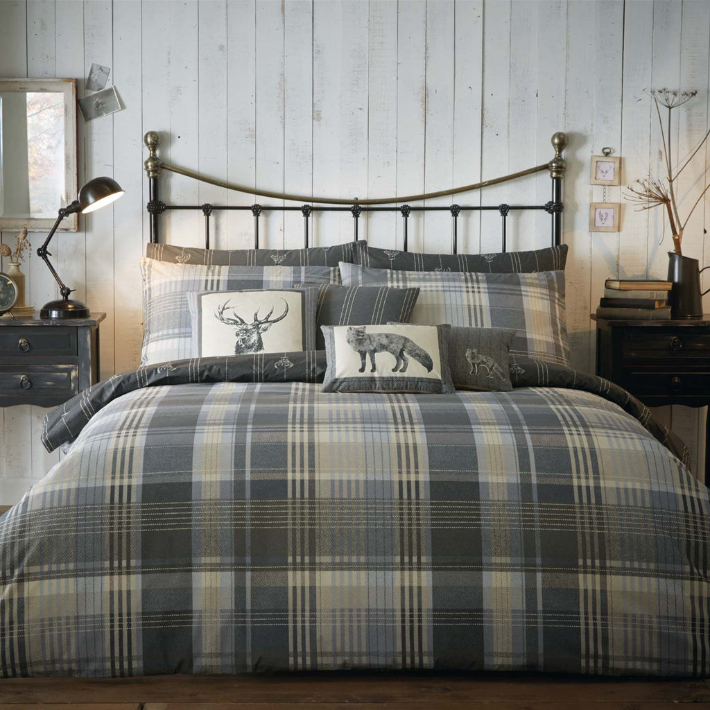Connolly Check Brushed Cotton Flannelette Charcoal Duvet Cover Set