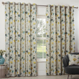 Camarillo Lined Eyelet Curtains Ochre - Ideal Textiles