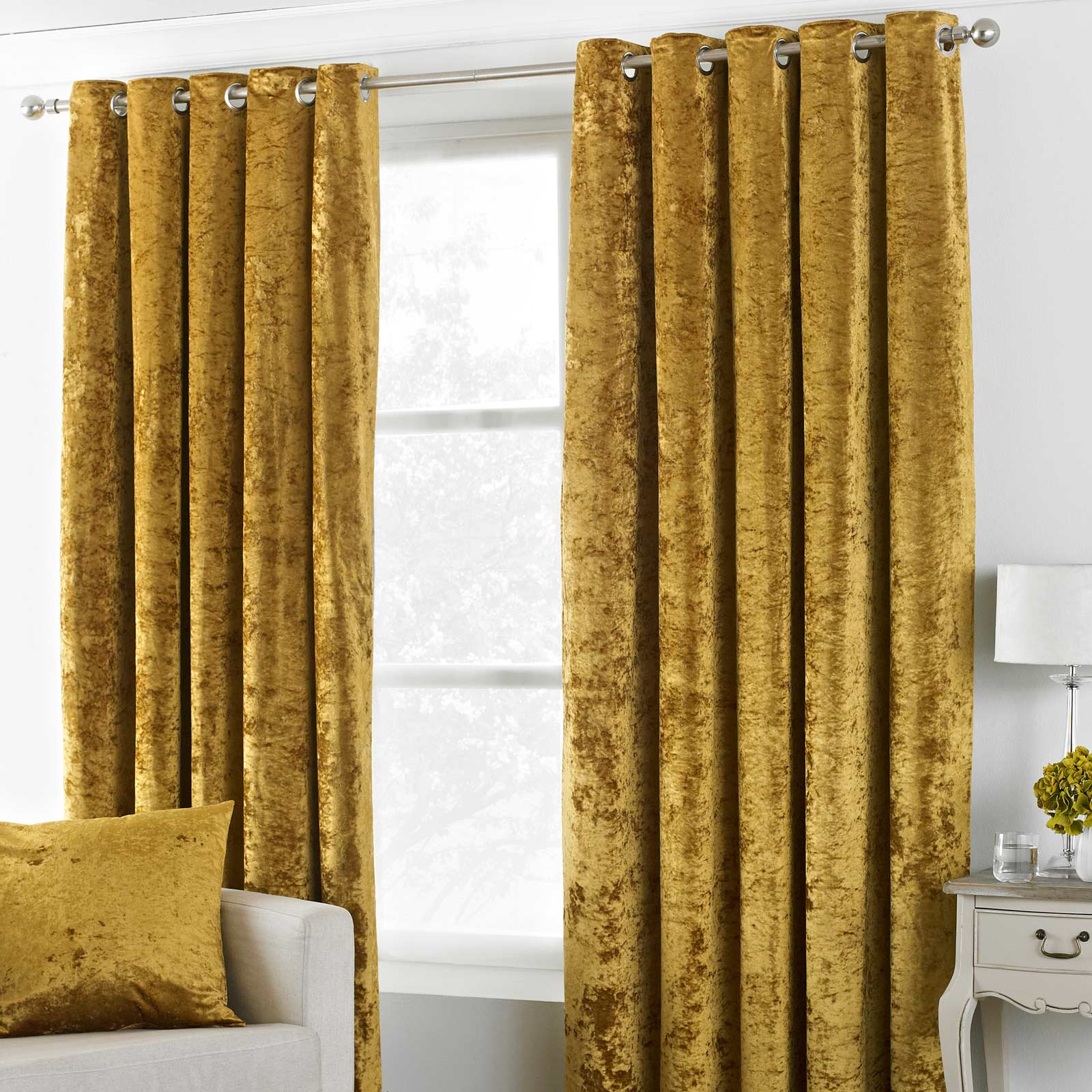 Verona Crushed Velvet Lined Eyelet Curtains Ochre - 46'' x 54'' - Ideal Textiles