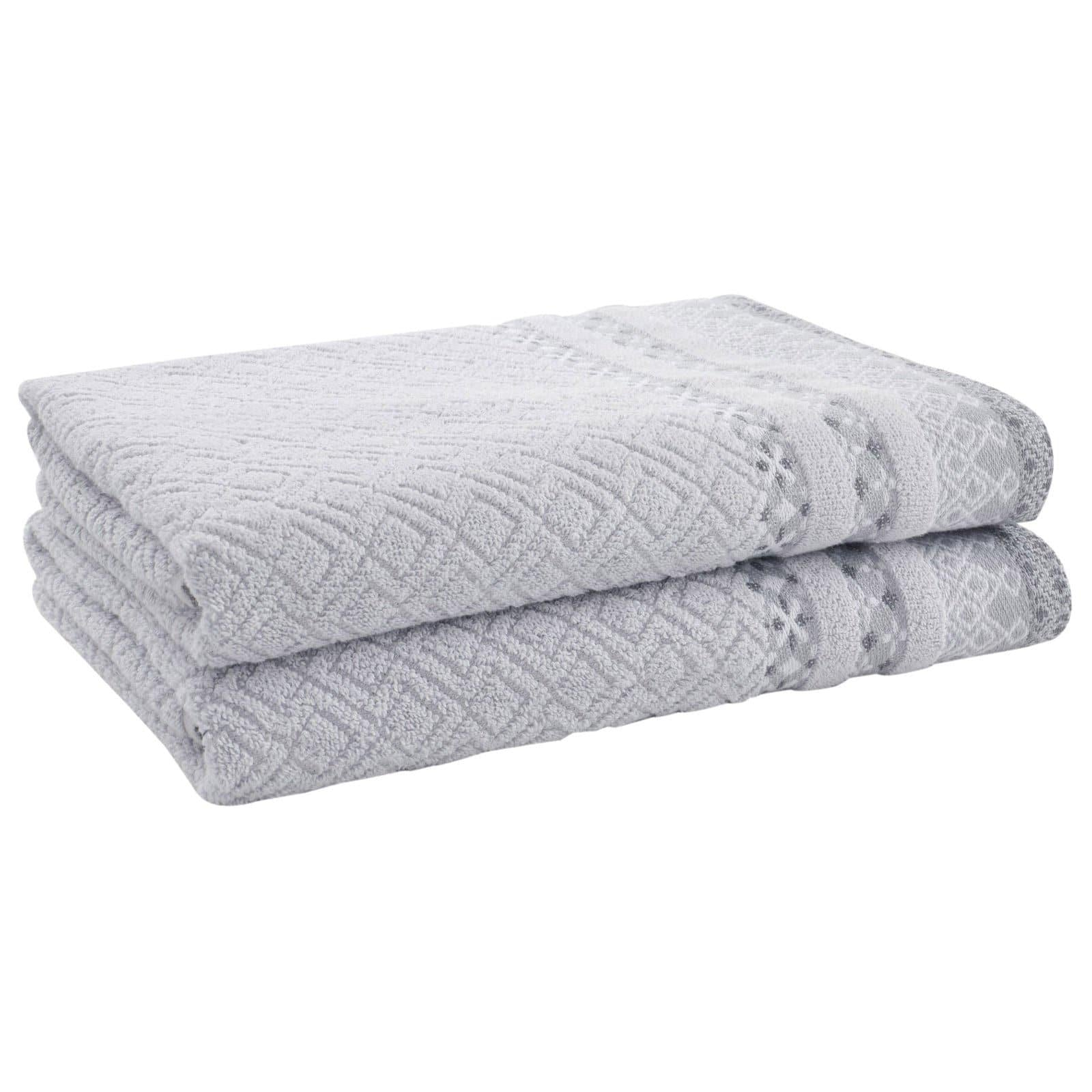 Malawa Geo Grey 2 Piece Towel Sets - Bath Towels - Ideal Textiles