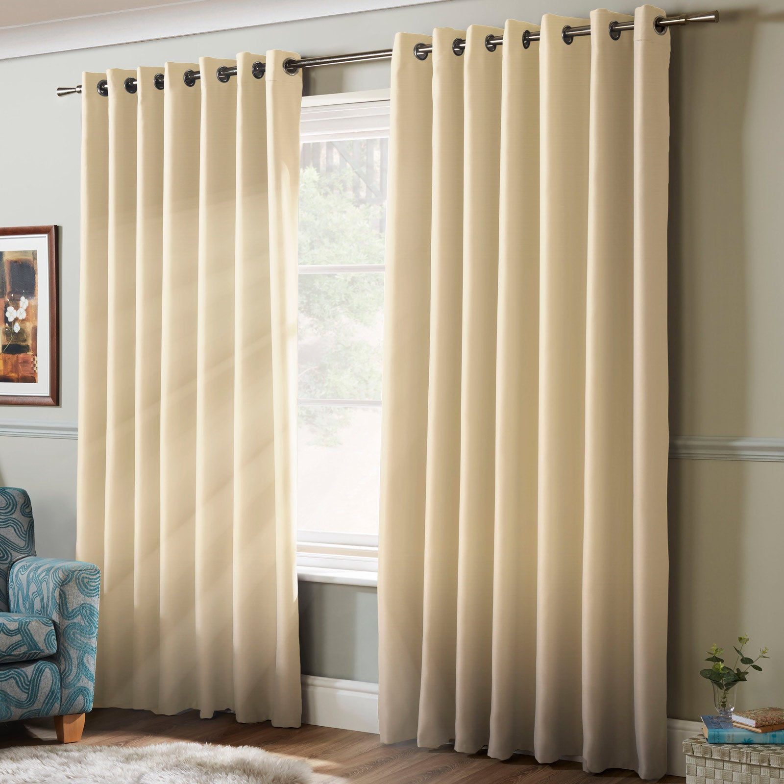Plain Thermal Blackout Eyelet Curtains Cream - 41'' x 54'' - Ideal Textiles