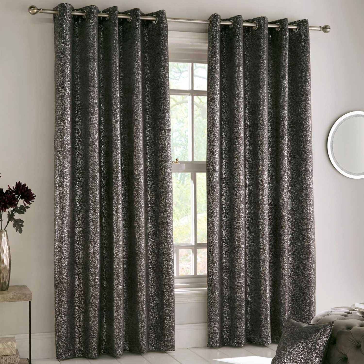 Halo Sparkle Block-Out Thermal Eyelet Curtains Charcoal - 46'' x 54'' - Ideal Textiles