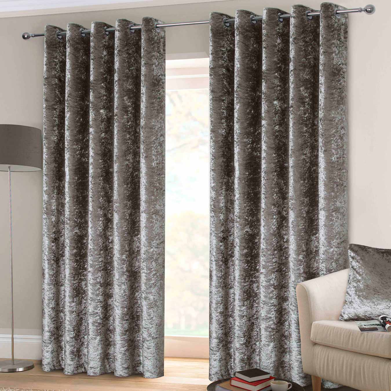 Crushed Velvet Lined Eyelet Curtains Silver - 66'' x 72'' - Ideal Textiles