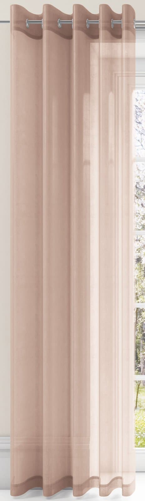 Plain Eyelet Voile Curtain Panels Coffee -  - Ideal Textiles