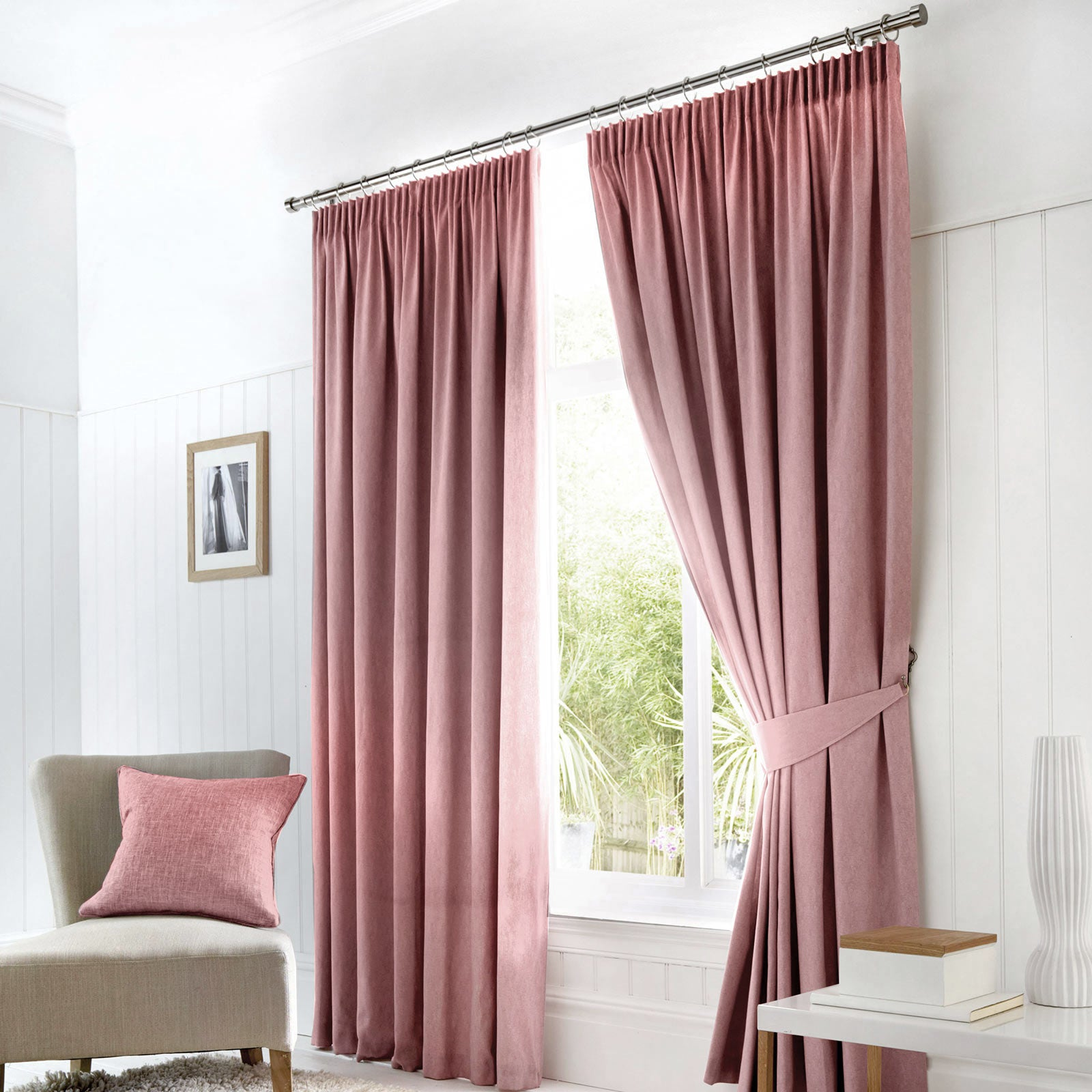 Dijon Blackout Thermal Tape Top Curtains Blush Pink - 46'' x 54'' - Ideal Textiles