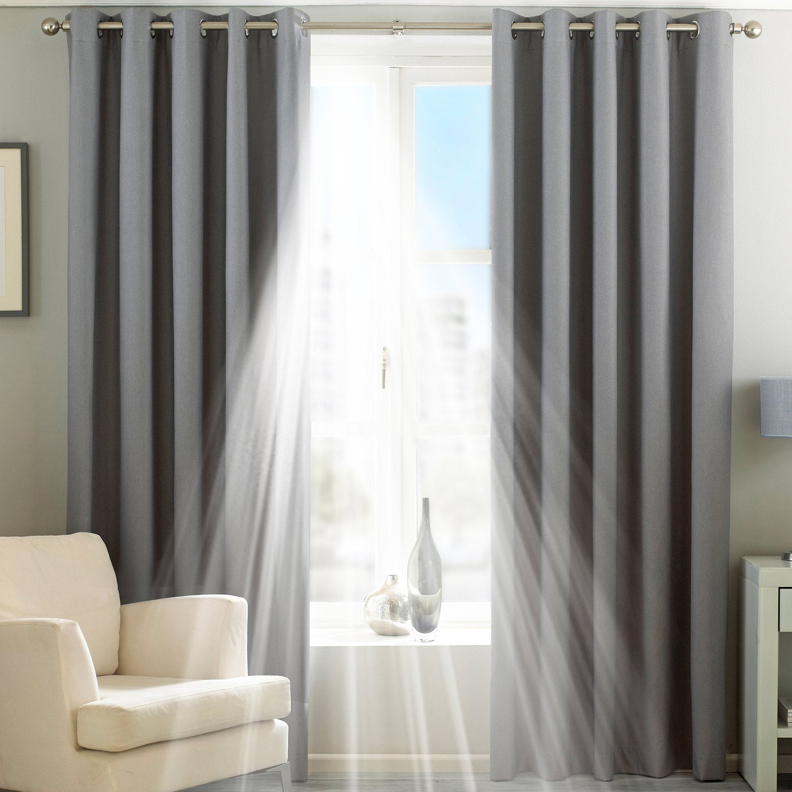 Twilight Thermal Blackout Eyelet Curtains Silver - 46'' x 54'' - Ideal Textiles