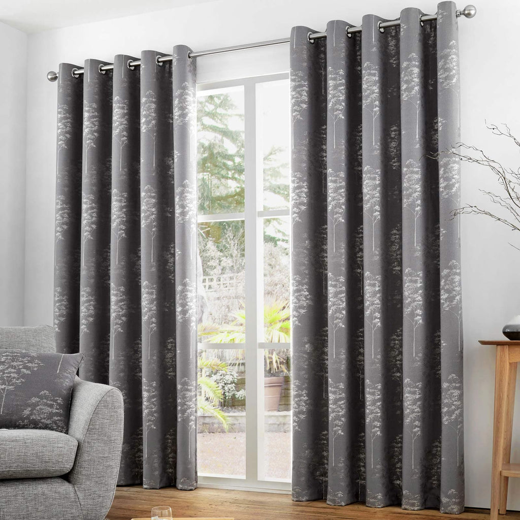 Elmwood Lined Eyelet Curtains Graphite - Ideal Textiles