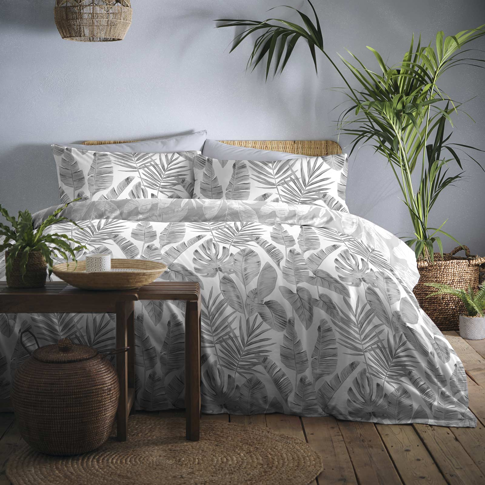 Tahiti Tropical Palm Leaf Print Grey Duvet Cover Set - Single - Ideal Textiles