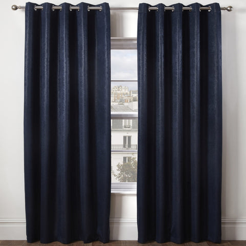 Ambiance Embossed Thermal Blackout Eyelet Curtains Navy