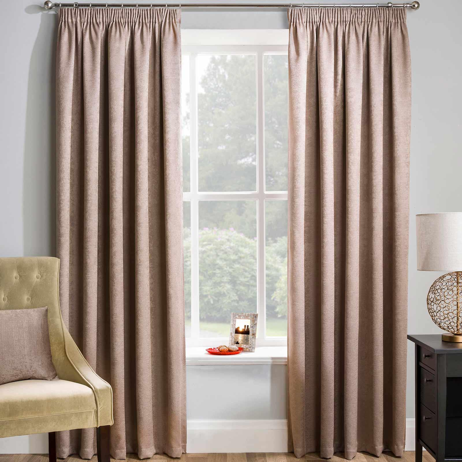 Matrix Block Out Thermal Tape Top Curtains Latte - 46'' x 54'' - Ideal Textiles