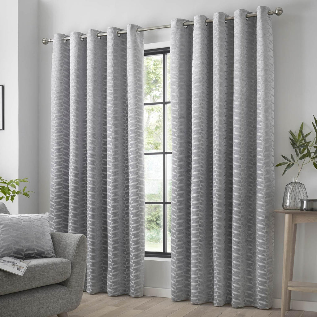 Kendal Lined Eyelet Curtains Silver Grey - Ideal Textiles