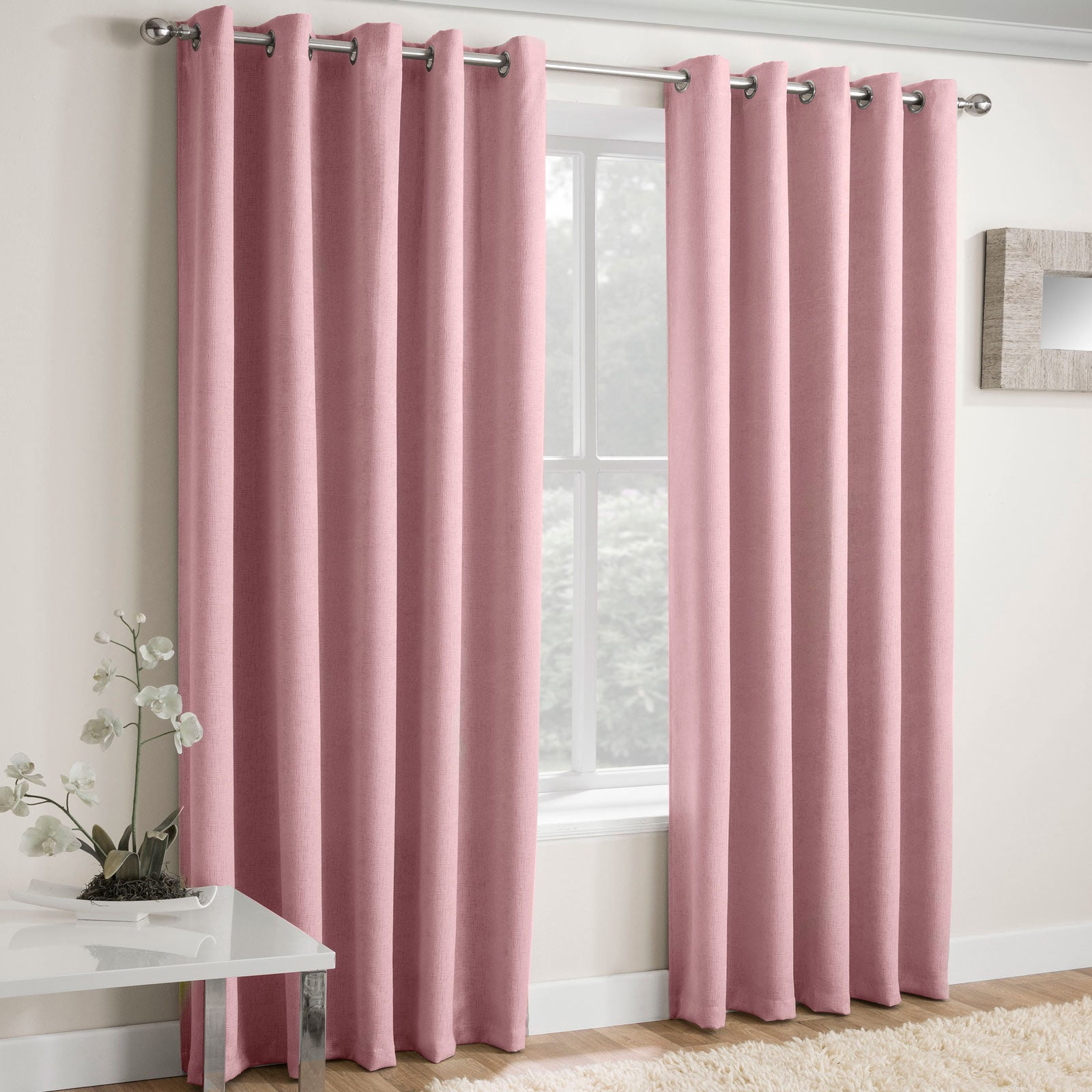Vogue Textured Block-Out Thermal Eyelet Curtains Blush Pink - 46'' x 54'' - Ideal Textiles