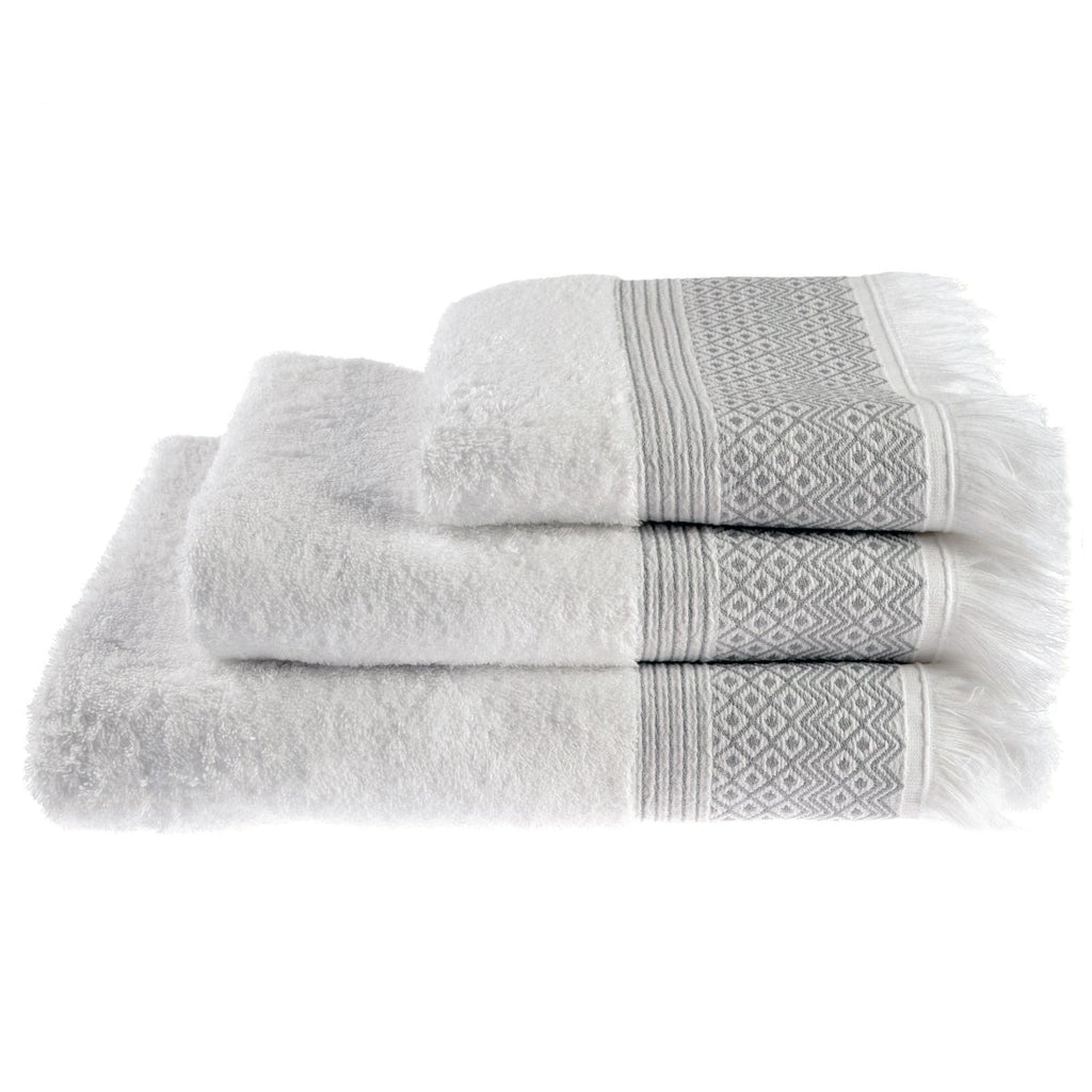 Diamond Tassel Trim 100% Cotton Towels & Bath Mat Grey - Ideal Textiles