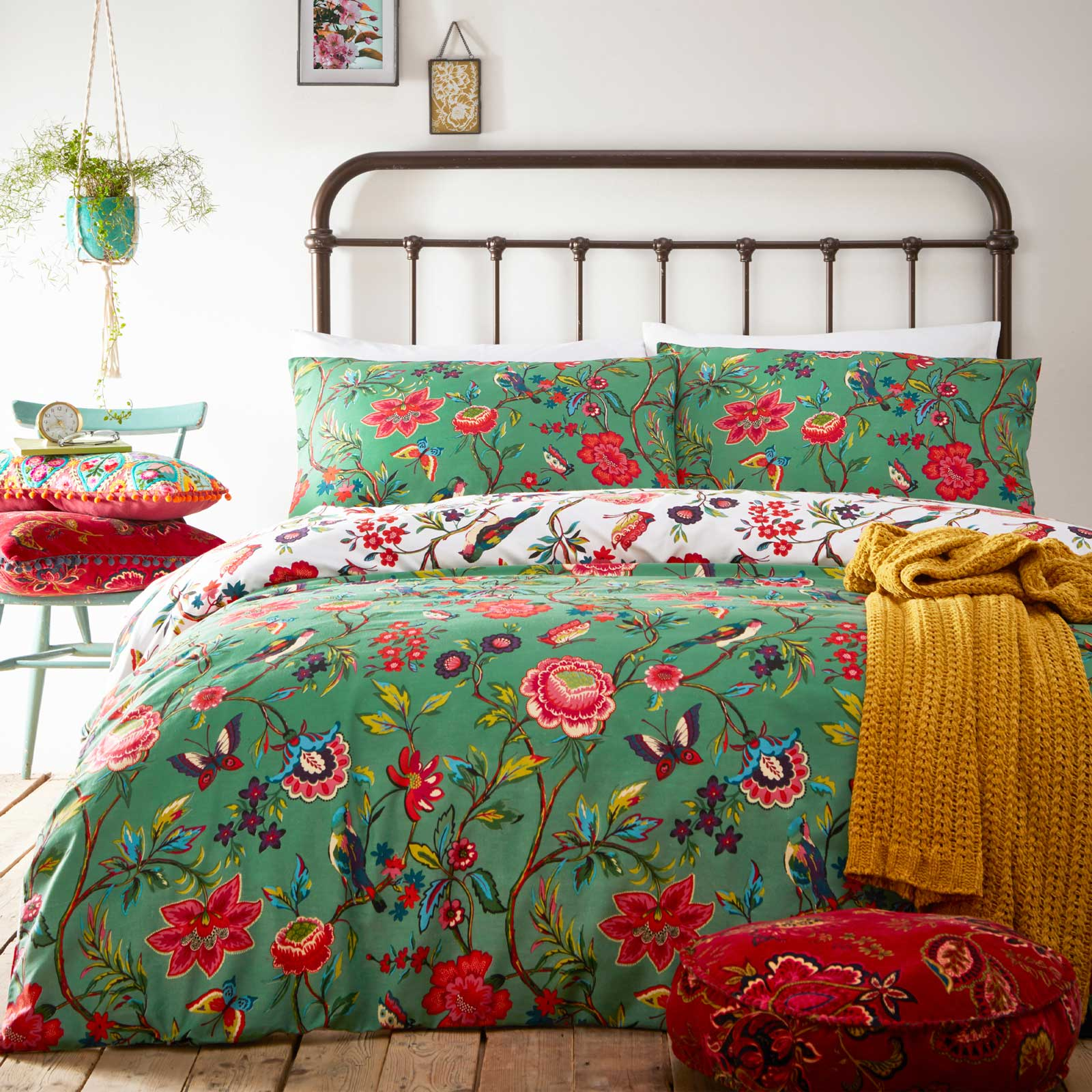 Pomelo Tropical Flowers Reversible Verdi Green Duvet Cover Set - Single - Ideal Textiles