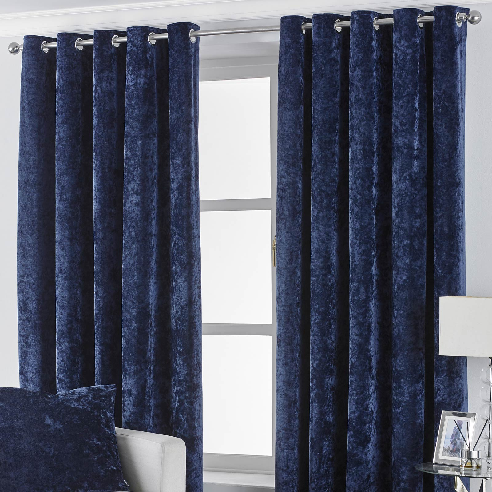 Verona Crushed Velvet Lined Eyelet Curtains Navy - 46'' x 54'' - Ideal Textiles