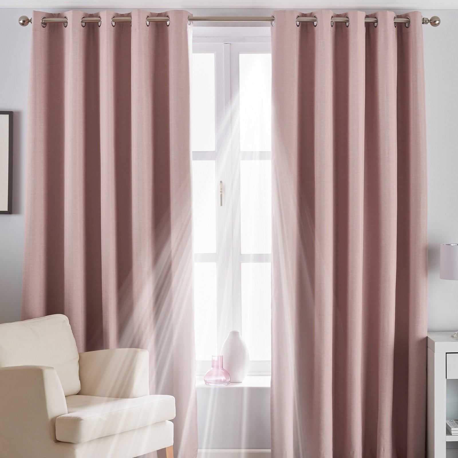 Twilight Thermal Blackout Eyelet Curtains Blush Pink - 46'' x 54'' - Ideal Textiles