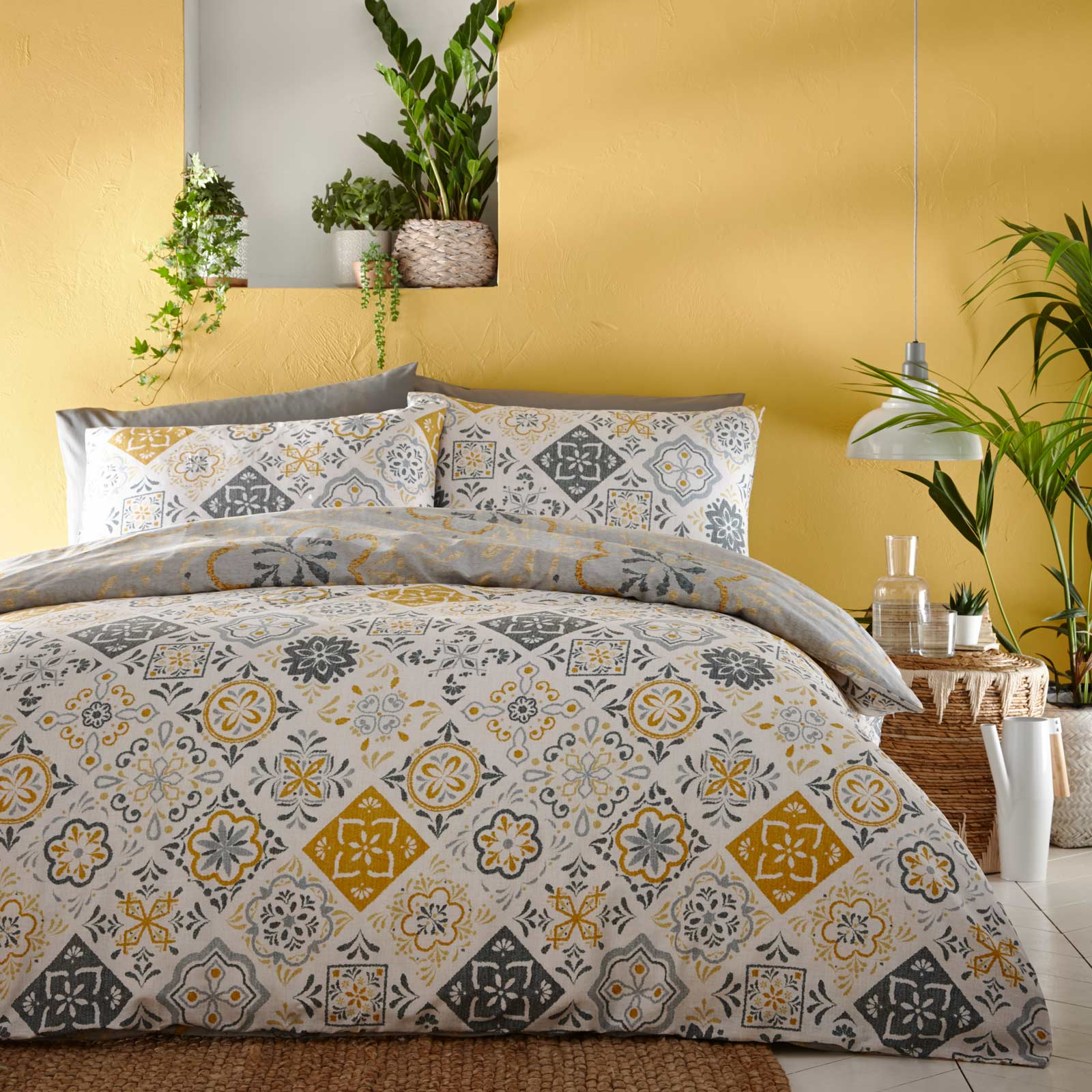 Morocco Tile Print Reversible Ochre Duvet Cover Set - Single - Ideal Textiles