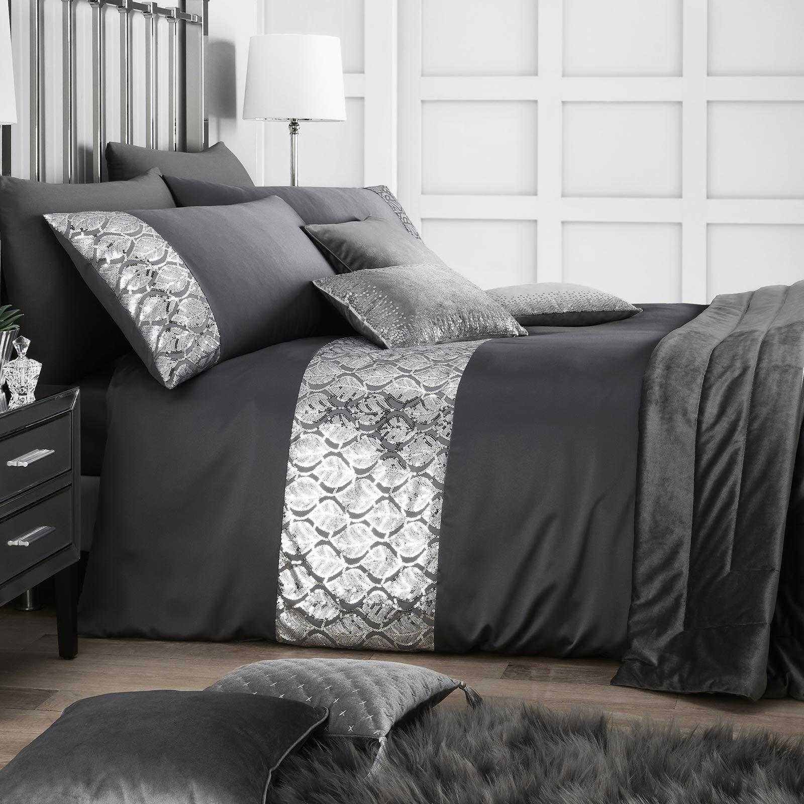 Hayworth Sequin Sparkle Slate Duvet Cover Set Collection - Double - Ideal Textiles