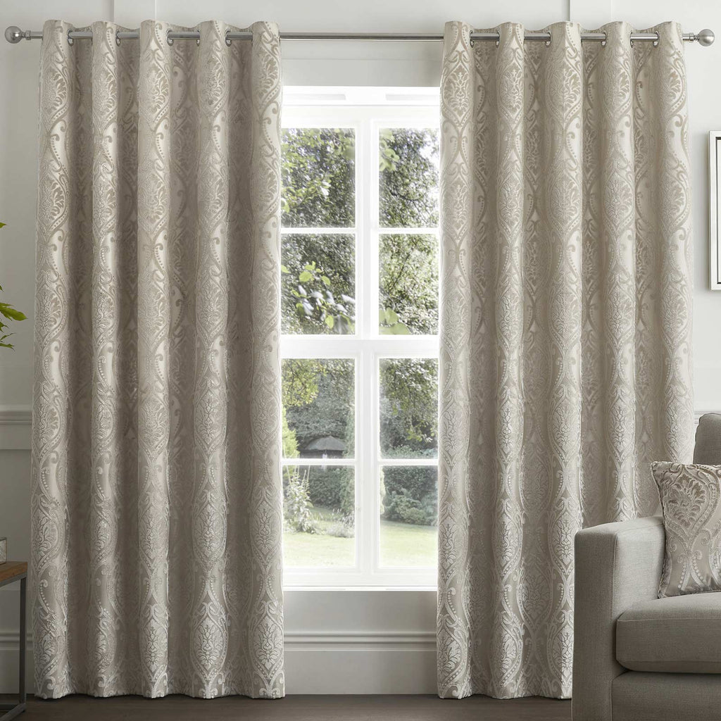 Chateau Lined Eyelet Curtains Natural - Ideal Textiles