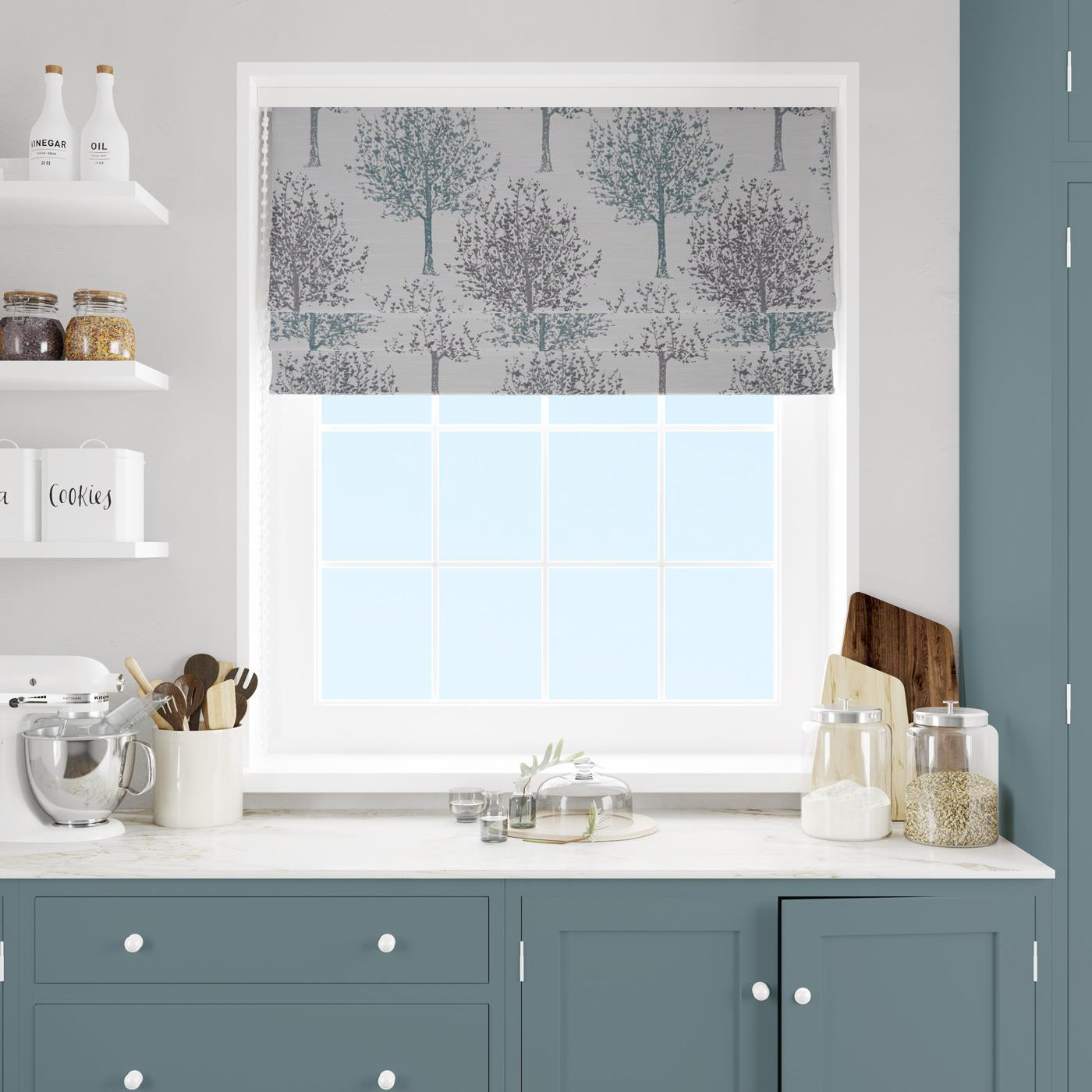 Kea Teal Made To Measure Roman Blind -  - Ideal Textiles
