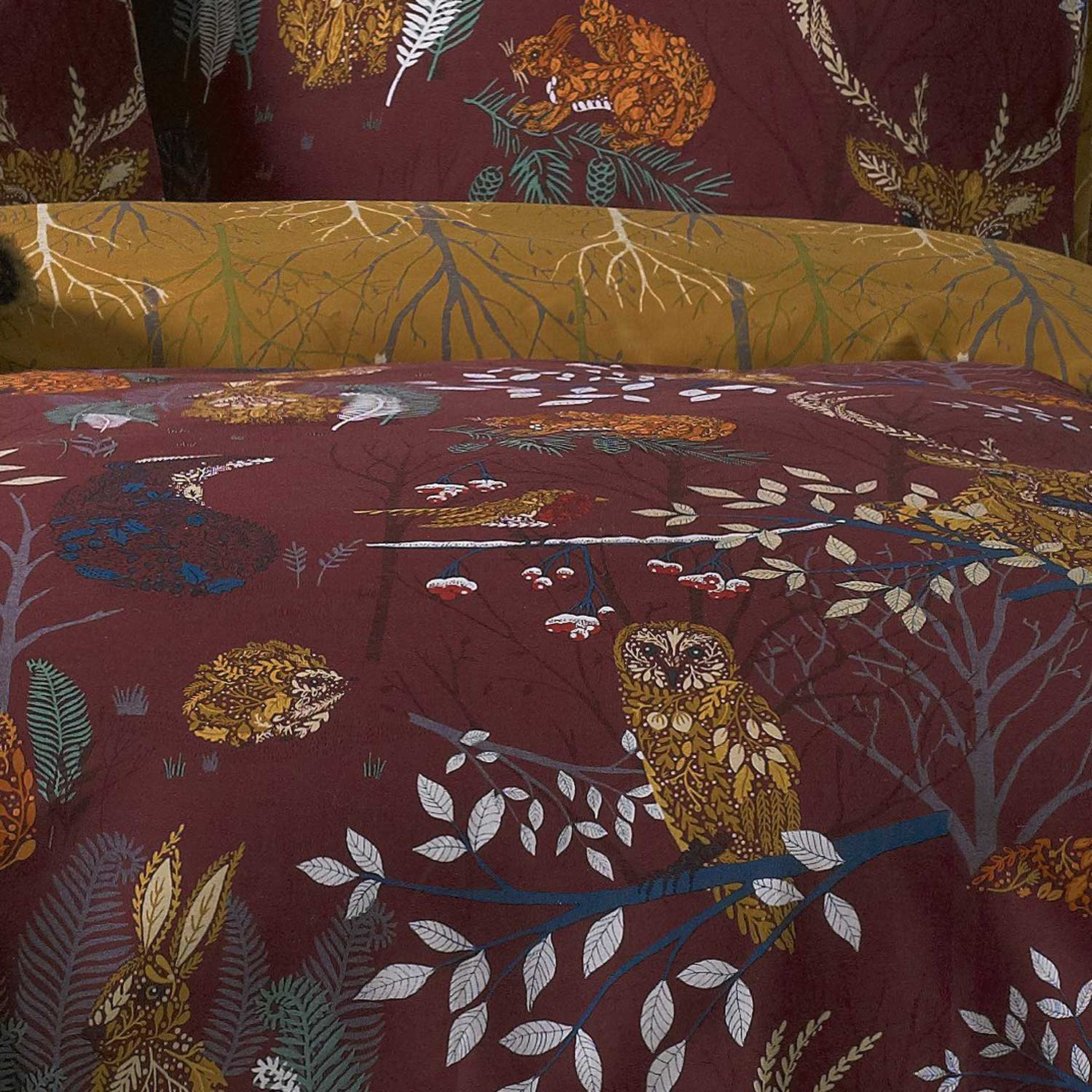 Forest Fauna Woodland Animals Print Rust Duvet Cover Set -  - Ideal Textiles