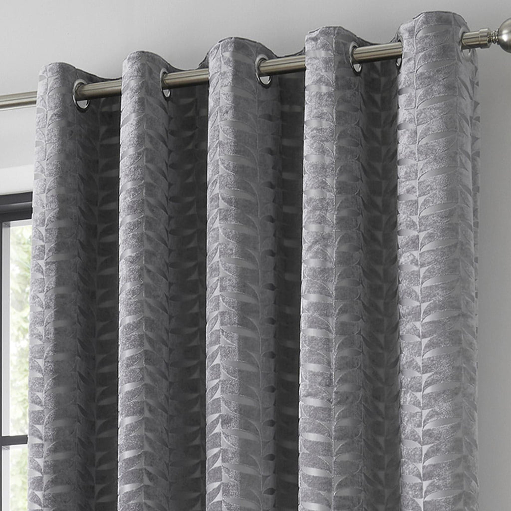 Kendal Lined Eyelet Curtains Charcoal - Ideal Textiles