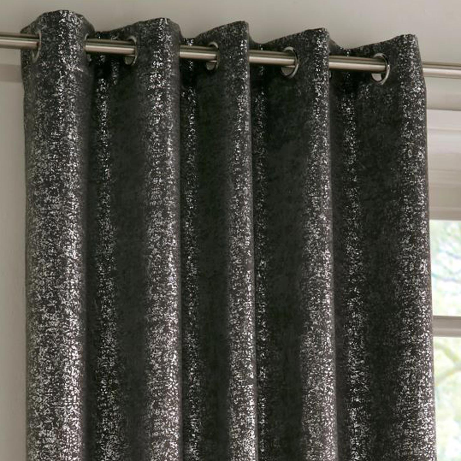 Halo Sparkle Block-Out Thermal Eyelet Curtains Charcoal -  - Ideal Textiles