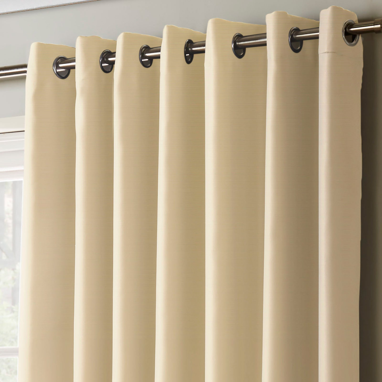 Plain Thermal Blackout Eyelet Curtains Cream -  - Ideal Textiles