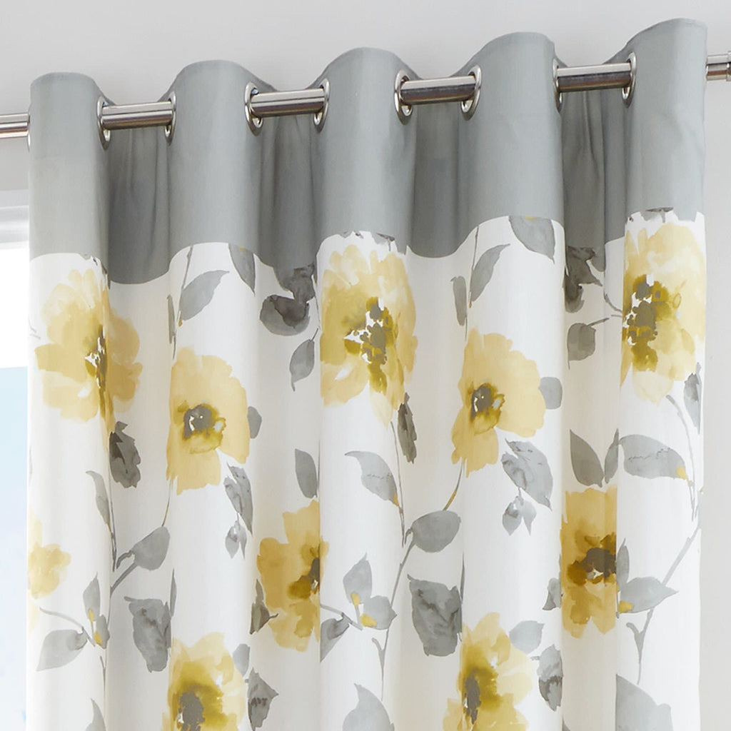 Adrianna Lined Eyelet Curtains Ochre - Ideal Textiles