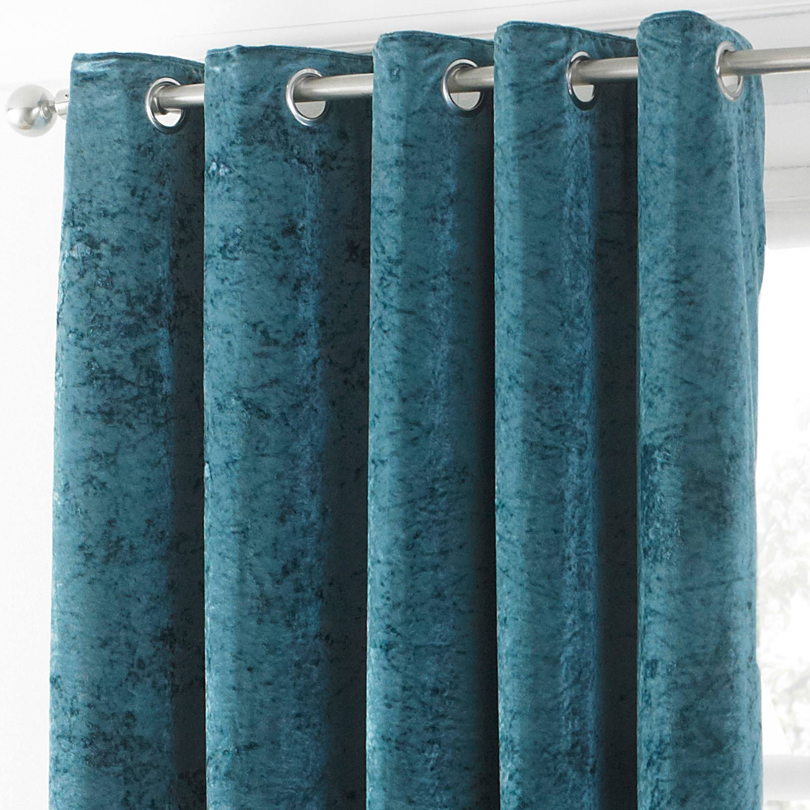 Verona Crushed Velvet Lined Eyelet Curtains Teal -  - Ideal Textiles