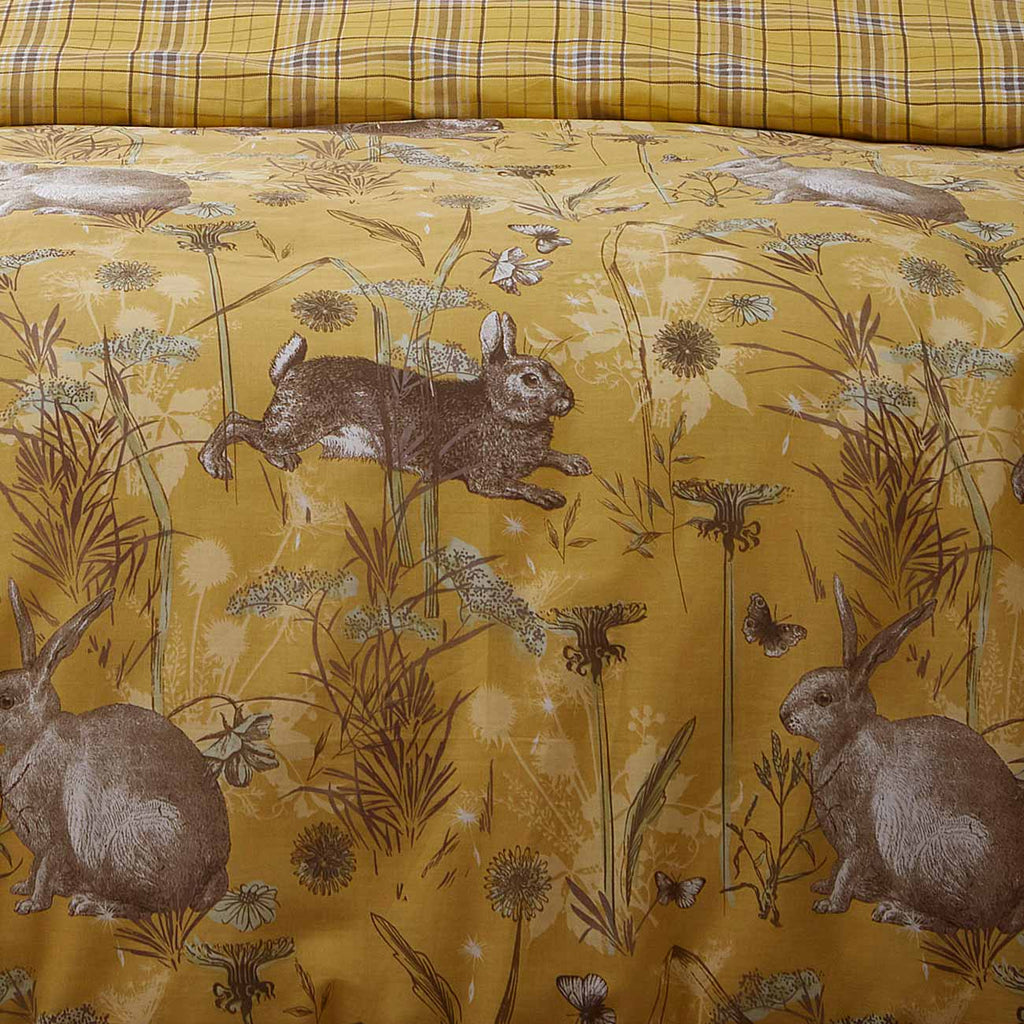 Rabbit Meadow Reversible Ochre Yellow Duvet Cover Set - Ideal Textiles