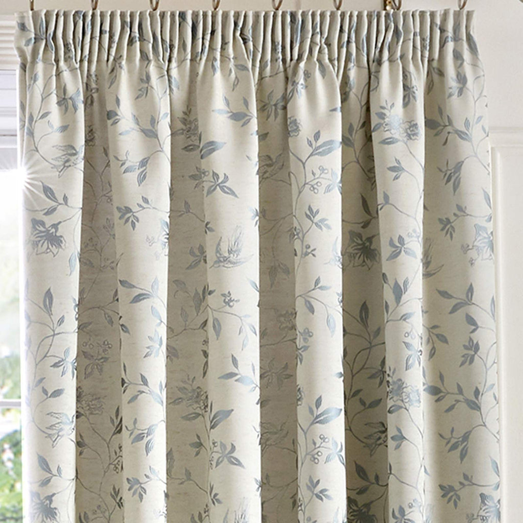 Bird Trail Lined Tape Top Curtains Duck Egg - Ideal Textiles