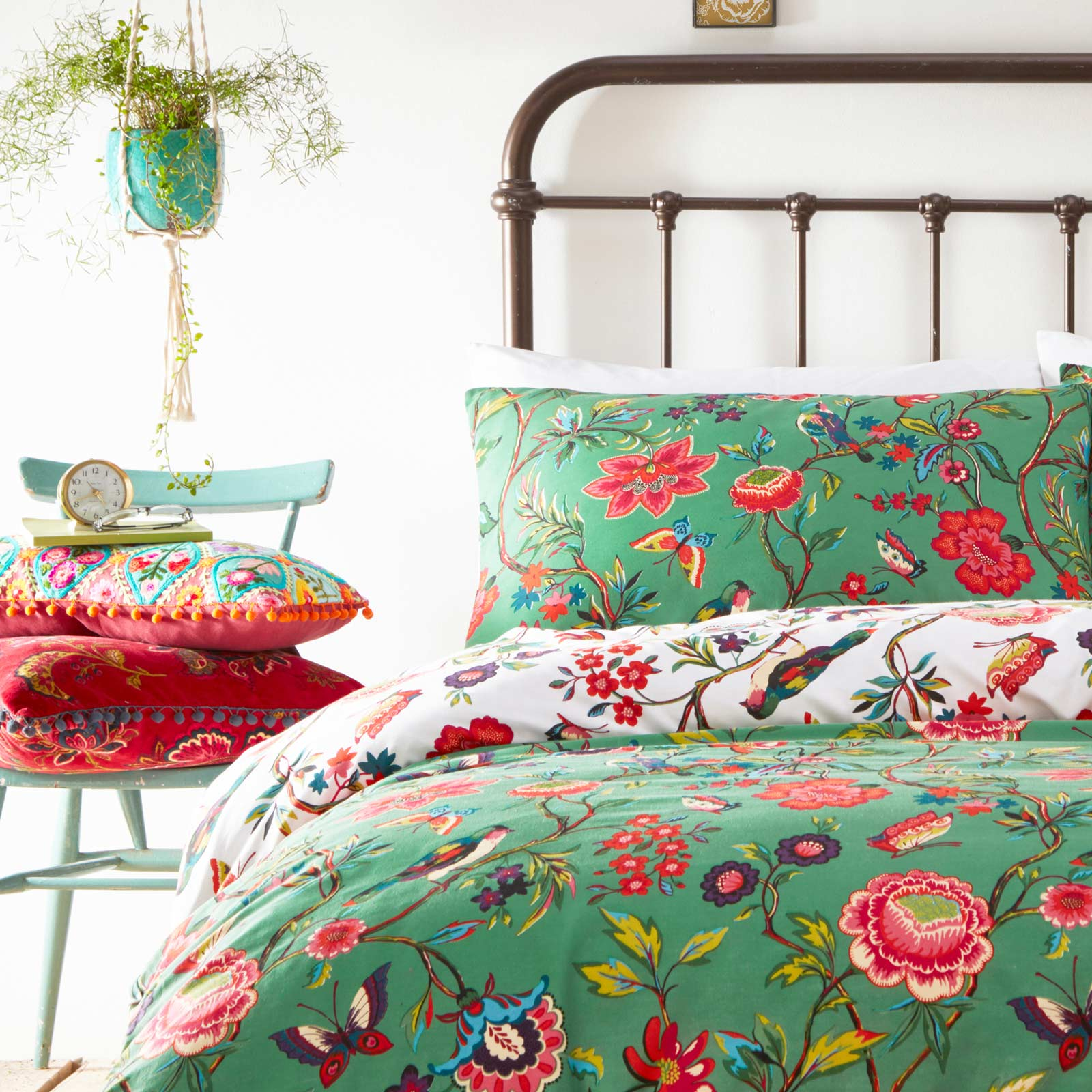 Pomelo Tropical Flowers Reversible Verdi Green Duvet Cover Set -  - Ideal Textiles