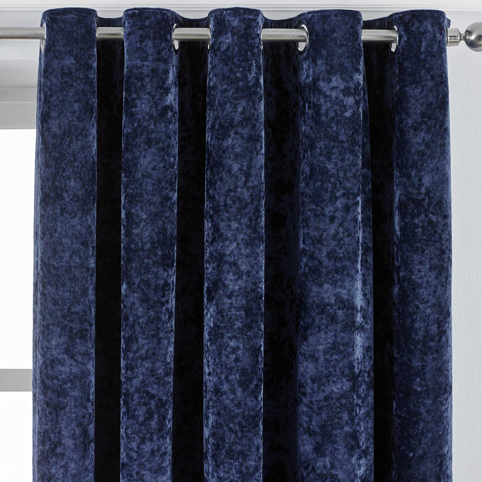 Verona Crushed Velvet Lined Eyelet Curtains Navy -  - Ideal Textiles